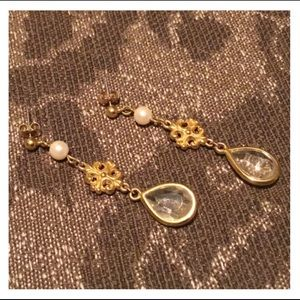 Vintage Gold Pearl & Crystal Studded Earrings